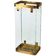 1960s Fontana Arte Brass and Clear Glass Umbrella Stand Design by Max Ingrand