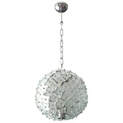 1960s Fontana Arte Glass Plates Pendant Lamp with an Elaborate Metal