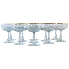 1960s Fostoria Gold Rim Glass Coupes, Set of 11