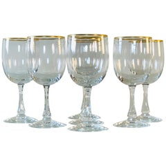 1960s Fostoria Gold Rim Glass Wine Stems, Set of 7
