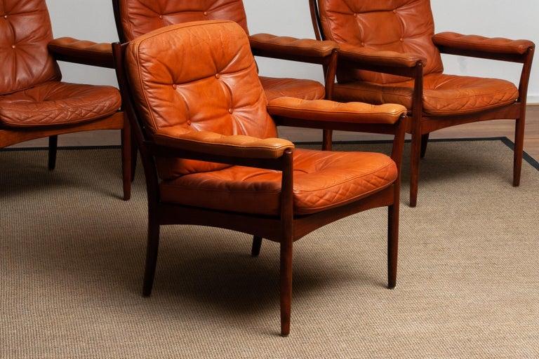 1960s, Four Cognac Leather Easy Chairs Made by Göte Design Nässjö, Sweden 4