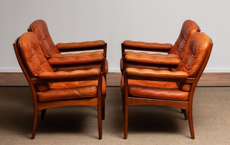 1960s, Four Cognac Leather Easy Chairs Made by Göte Design Nässjö, Sweden 5