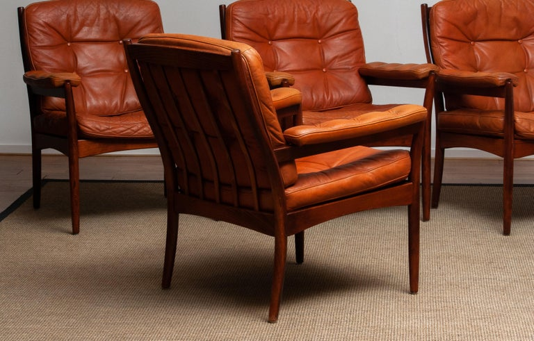 1960s, Four Cognac Leather Easy Chairs Made by Göte Design Nässjö, Sweden 6