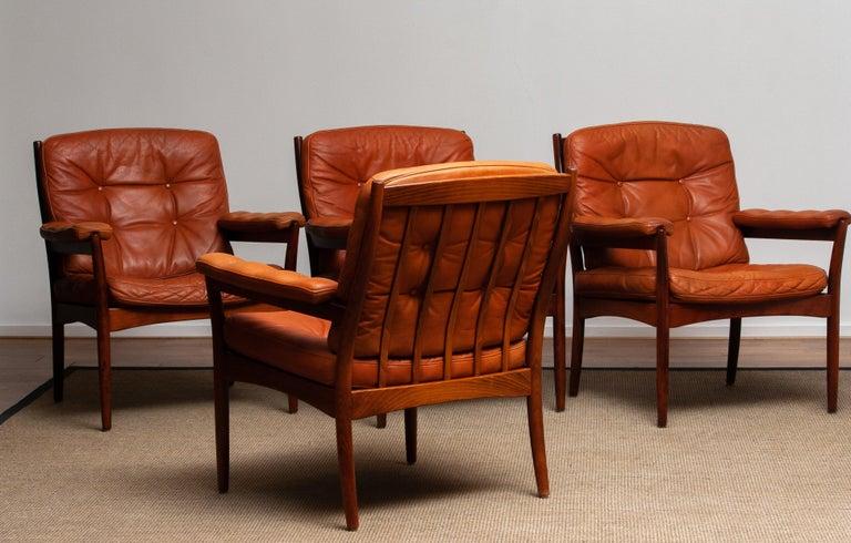 1960s, Four Cognac Leather Easy Chairs Made by Göte Design Nässjö, Sweden 7