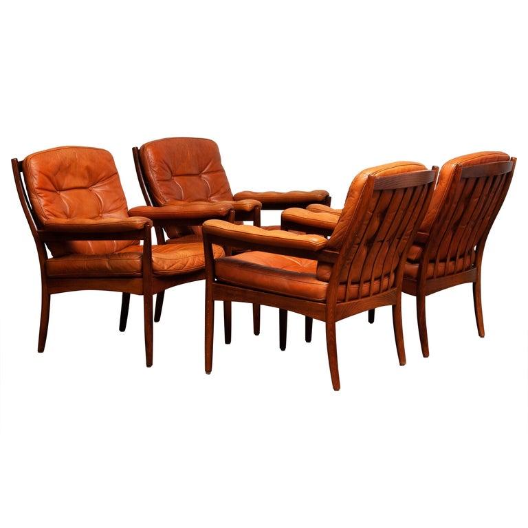 Mid-Century Modern 1960s, Four Cognac Leather Easy Chairs Made by Göte Design Nässjö, Sweden