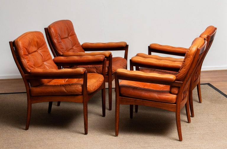 Swedish 1960s, Four Cognac Leather Easy Chairs Made by Göte Design Nässjö, Sweden