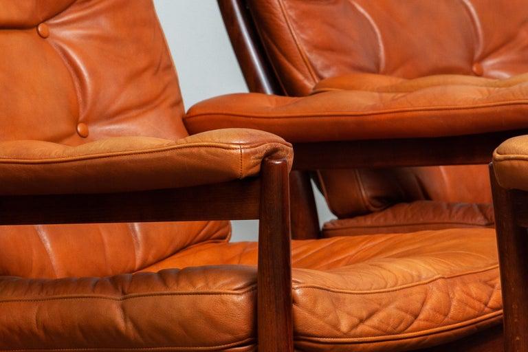1960s, Four Cognac Leather Easy Chairs Made by Göte Design Nässjö, Sweden In Good Condition In Silvolde, Gelderland