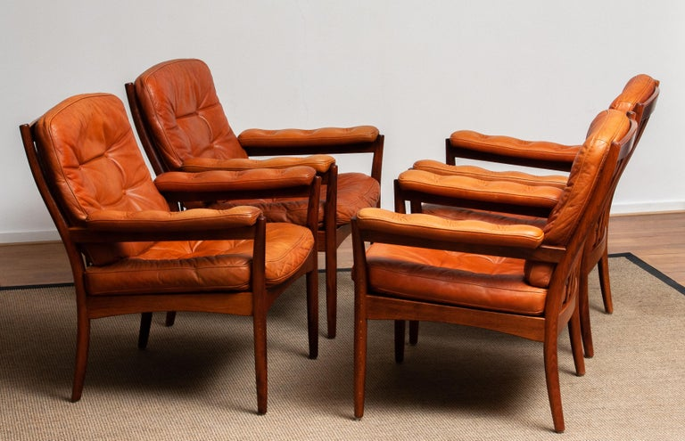Mid-20th Century 1960s, Four Cognac Leather Easy Chairs Made by Göte Design Nässjö, Sweden
