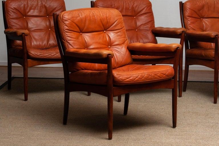 1960s, Four Cognac Leather Easy Chairs Made by Göte Design Nässjö, Sweden 1