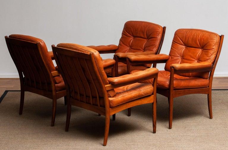 1960s, Four Cognac Leather Easy Chairs Made by Göte Design Nässjö, Sweden 2