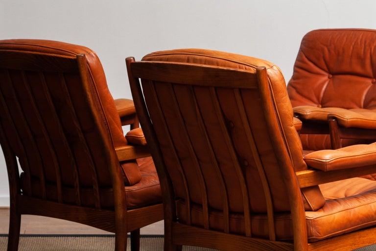 1960s, Four Cognac Leather Easy Chairs Made by Göte Design Nässjö, Sweden 3