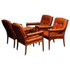 1960s, Four Cognac Leather Easy Chairs Made by Göte Design Nässjö, Sweden