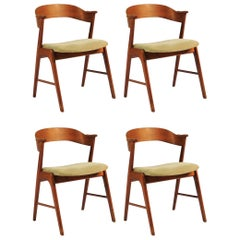 1960s Four Danish Teak Dining Chairs Known as Model 32, Inc. Reupholstery