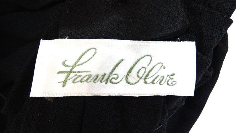 Women's or Men's 1960s Frank Olive Black Satin Rose Turban For Sale