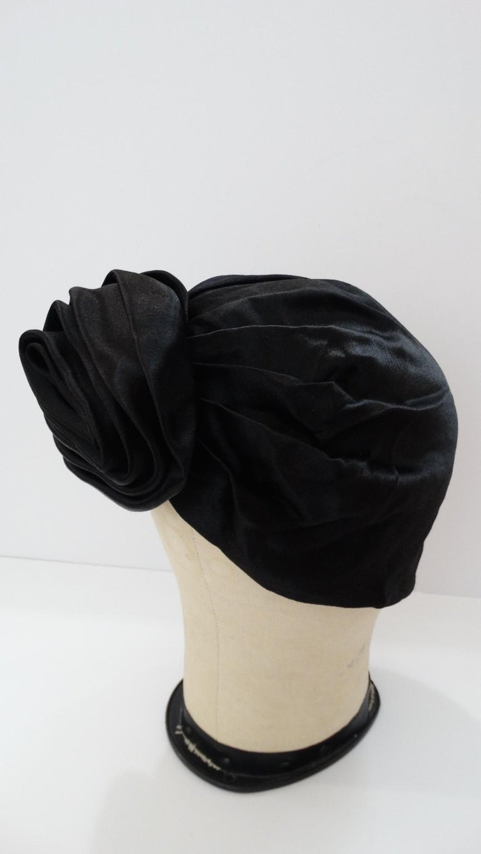 1960s Frank Olive Black Satin Rose Turban For Sale 2