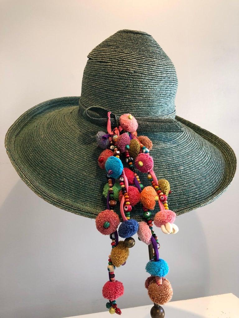 Black 1960s Frank Olive Jade Green Straw Hat & Moroccan Textile Boho Clutch For Sale