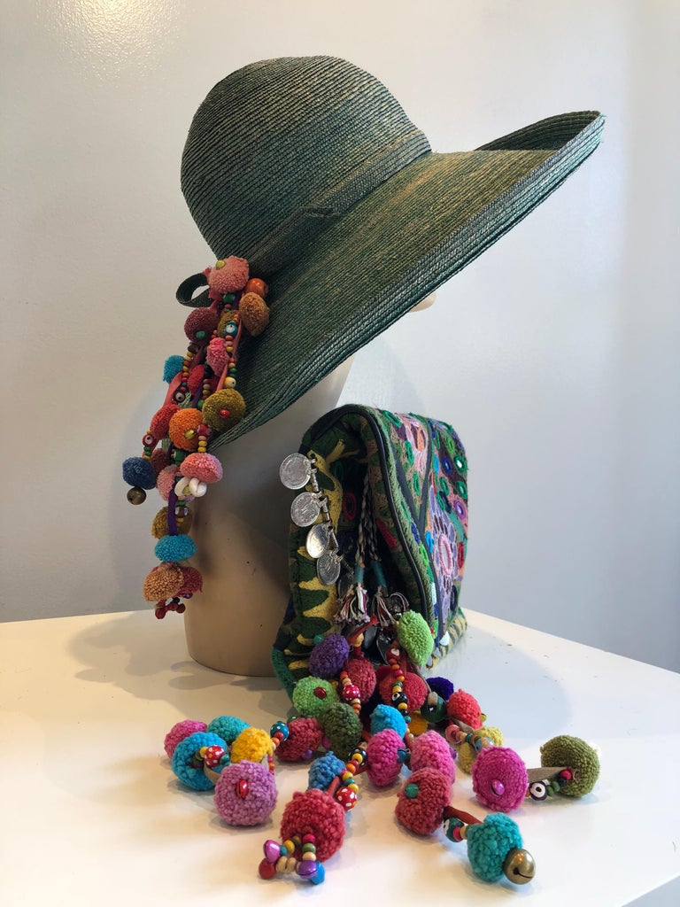 1960s Frank Olive Jade Green Straw Hat & Moroccan Textile Boho Clutch For Sale 4