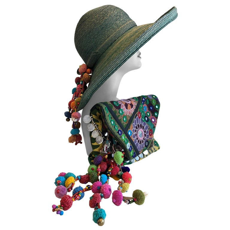 1960s Frank Olive Jade Green Straw Hat & Moroccan Textile Boho Clutch For Sale
