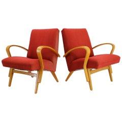 1960s Frantisek Jirak Bentwood Lounge Chairs, Set of 2