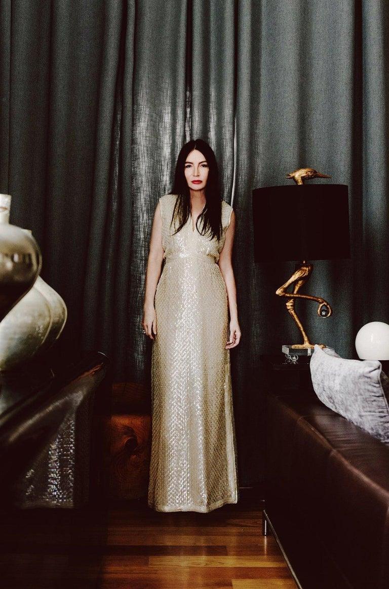 1960s Fred Perlberg Long Ivory Fully Sequinned Plunge Dress For Sale 6