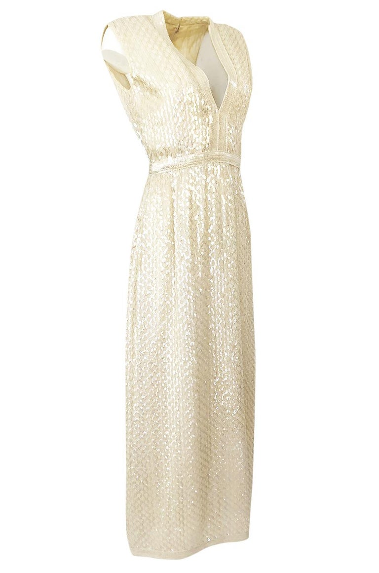 Beige 1960s Fred Perlberg Long Ivory Fully Sequinned Plunge Dress For Sale