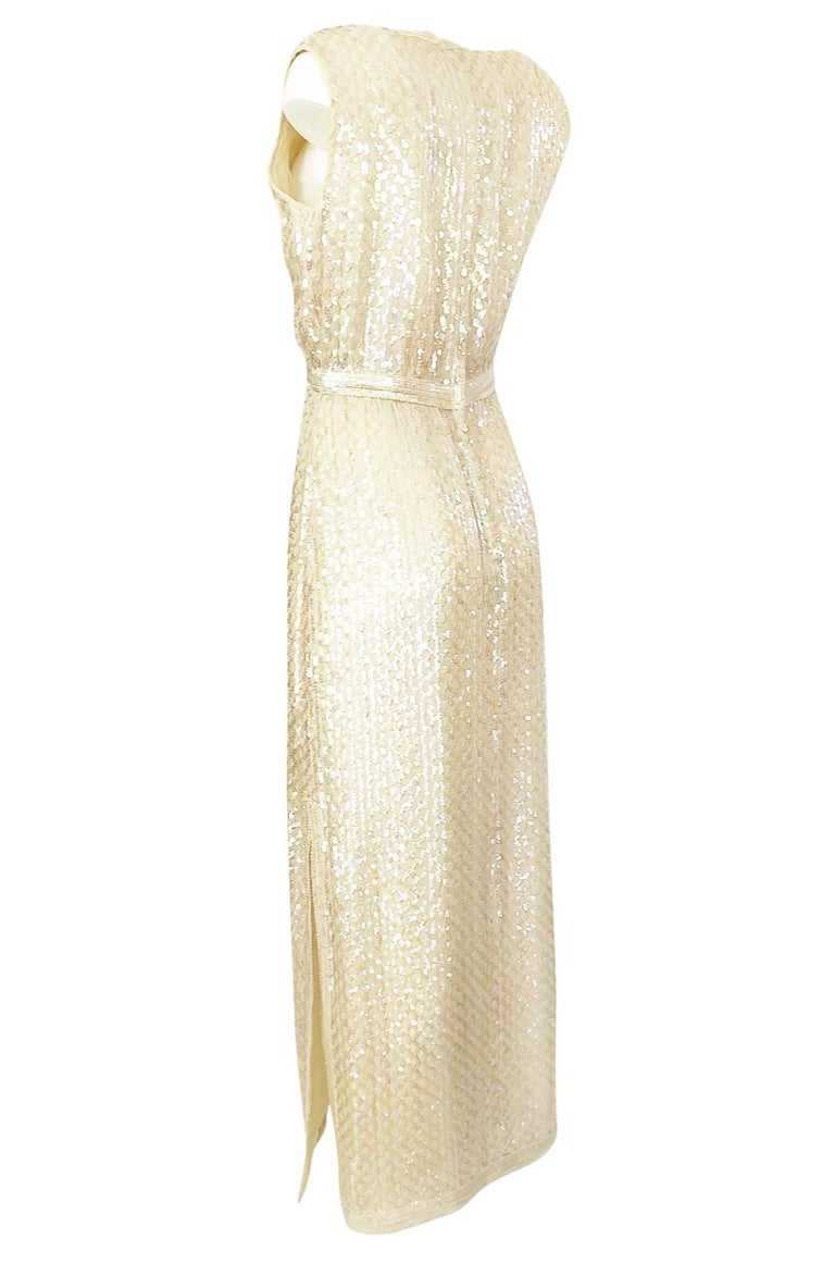Women's 1960s Fred Perlberg Long Ivory Fully Sequinned Plunge Dress For Sale