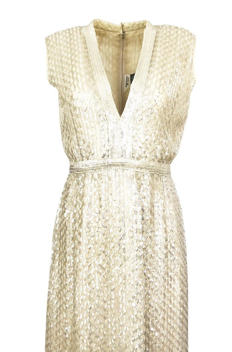 1960s Fred Perlberg Long Ivory Fully Sequinned Plunge Dress For Sale 1