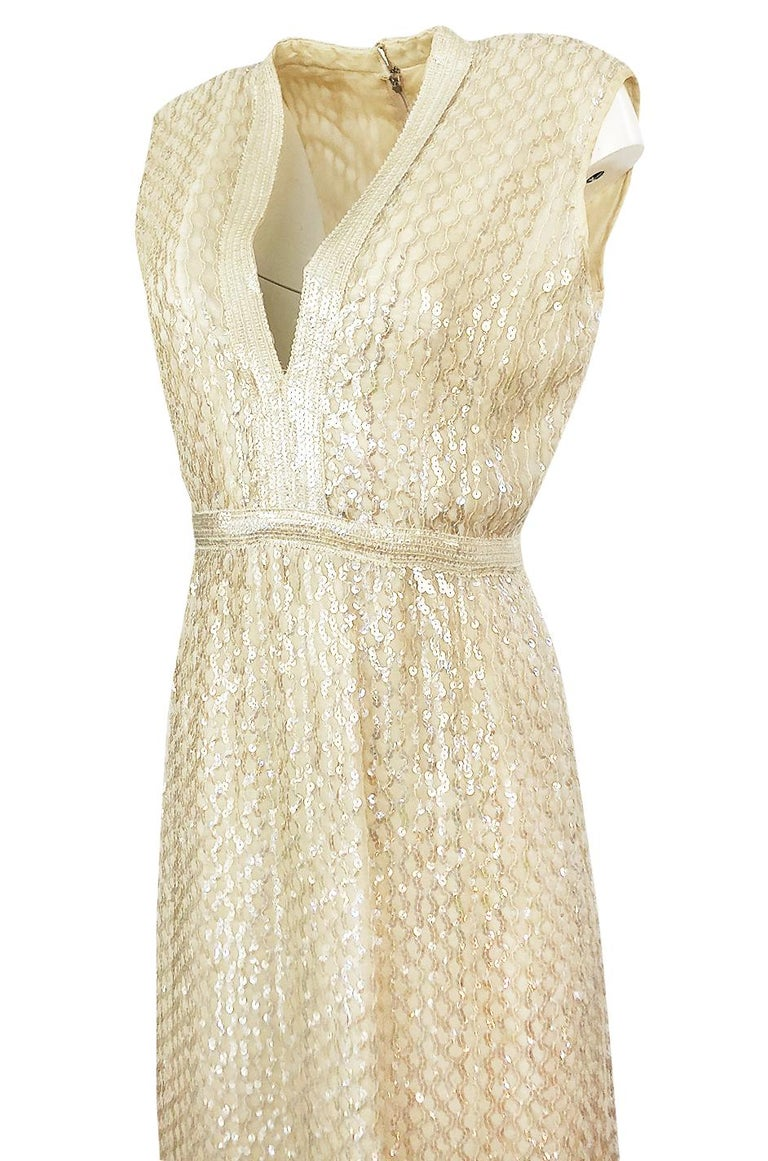 1960s Fred Perlberg Long Ivory Fully Sequinned Plunge Dress For Sale 2