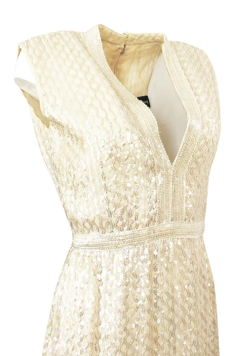 1960s Fred Perlberg Long Ivory Fully Sequinned Plunge Dress For Sale 3