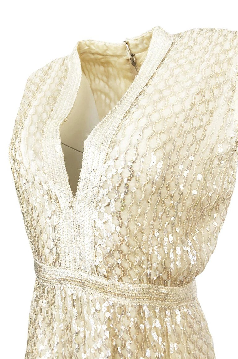 1960s Fred Perlberg Long Ivory Fully Sequinned Plunge Dress For Sale 4