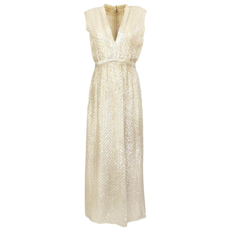 1960s Fred Perlberg Long Ivory Fully Sequinned Plunge Dress For Sale