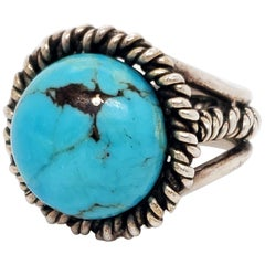 1960s Fred Skagg Handmade Sterling Silver and Turquoise Ring