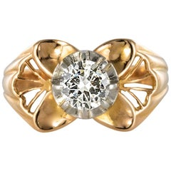 1960s French 0.83 Carat Diamond Rose Gold Ring
