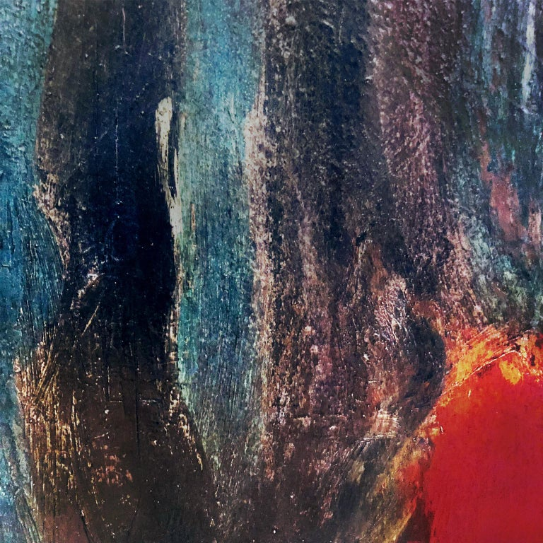 Abstract oil painting on board in black, blue, and red with custom black wood frame. Signed