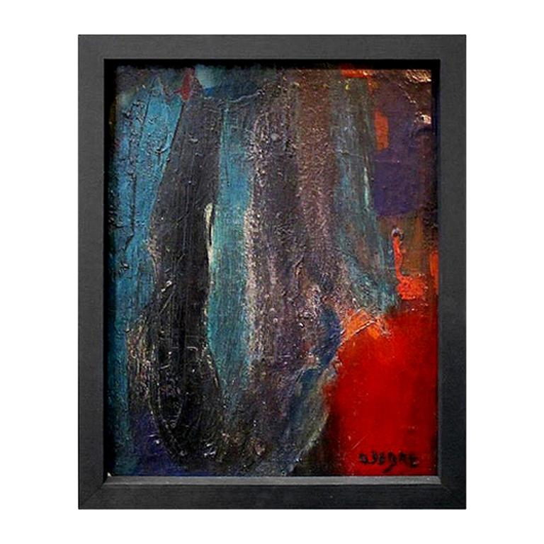 1960s French Abstract Oil Painting Attributed to Olivier Debré
