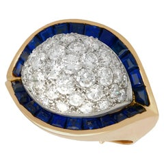 1960s French Art Deco Style Sapphire 1.72 Carat Diamond Gold Cocktail Ring