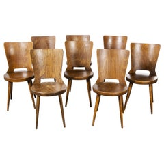1960s French Baumann Bentwood Dove Dining Chair, Set of Eight
