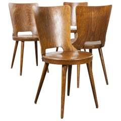 1960s French Baumann Bentwood Dove Dining Chair, Set of Four