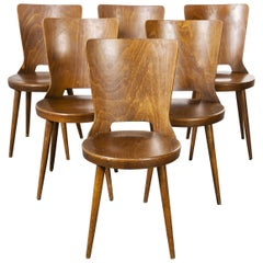 1960s French Baumann Bentwood Dove Dining Chair, Set of Six