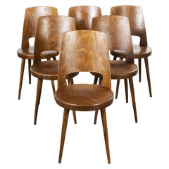 1960s French Baumann Bentwood Mondor Dining Chair, Set of Six