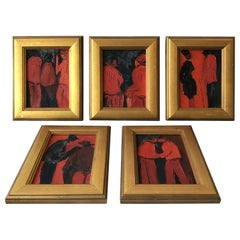 1960s French Black and Red Figural Paintings