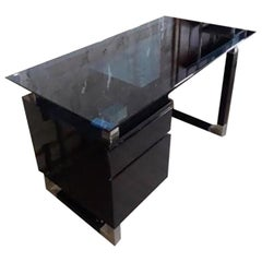 1960s French Black Lacquered and Blue Glass Desk