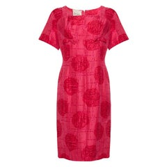 1960s French Boutique Label Jacques Cerise Silk Abstract Rose Print Dress