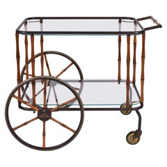 1960s French Brass and Bamboo Drinks Trolley/ Bar Cart by Maison Jansen