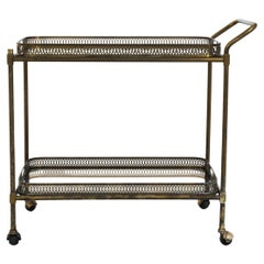 1960s French Brass and Glass Bar Cart on Wheels