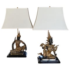 1960s French Brass Buddha Statues Pair of Table Lamp, Black Wood Base
