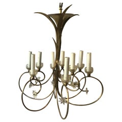 1960s French Brass Chandelier with Stars