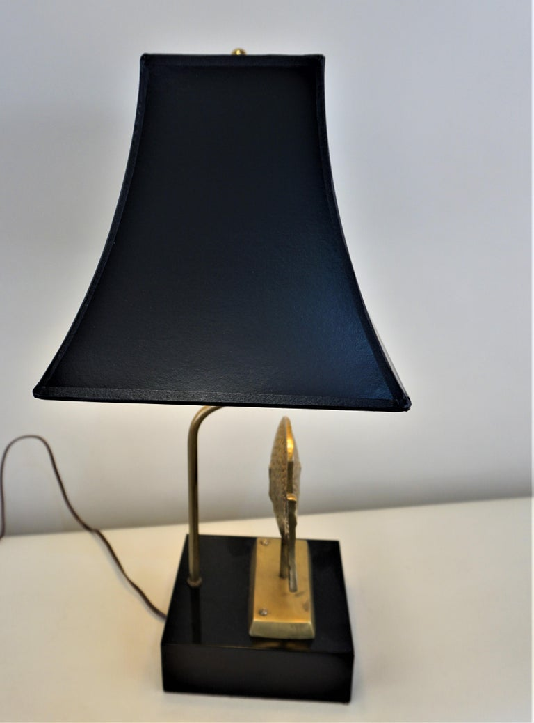 1960s French Bronze Fish Table Lamp In Good Condition For Sale In Fairfax, VA