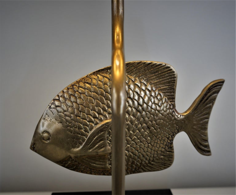1960s French Bronze Fish Table Lamp For Sale 1