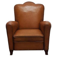 1960s French Brown Leather Club Chair, Studded back and Wooden Feet